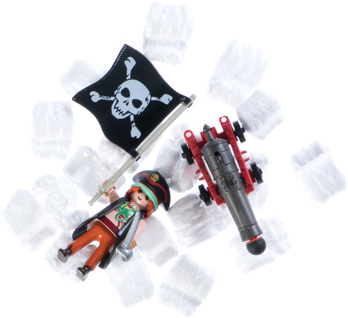 Shipping a pirate with a pirate flag and cannon