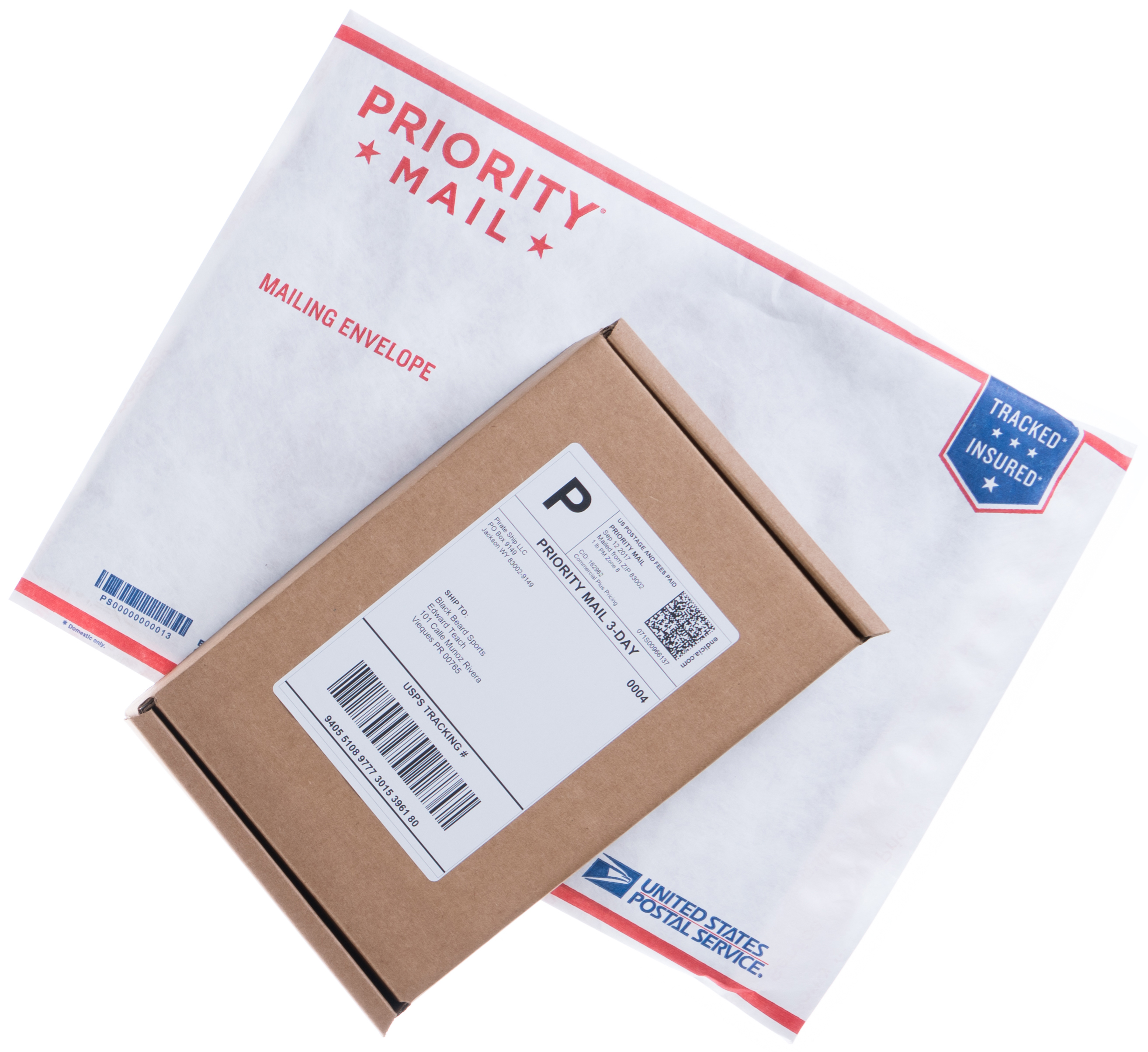 Shipping box and Priority Mail shipping envelope