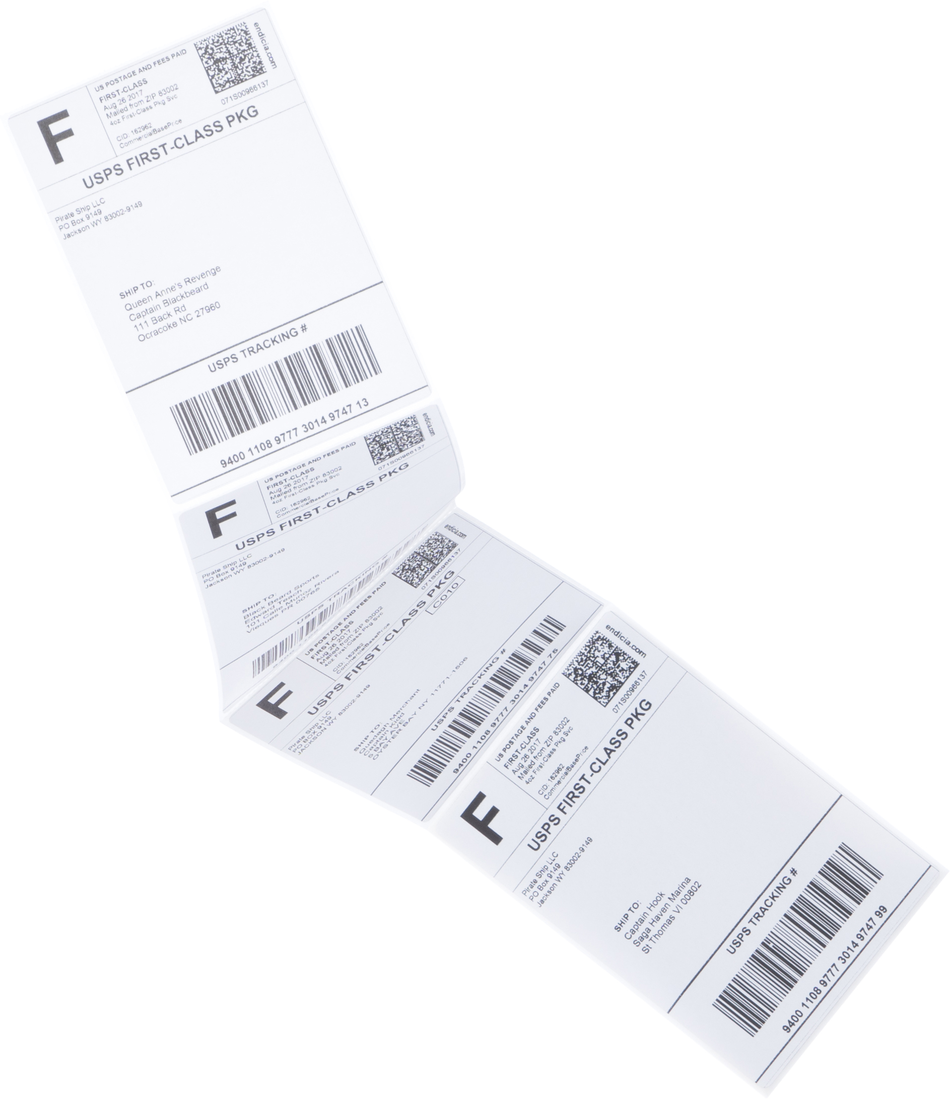 First Class Package shipping labels