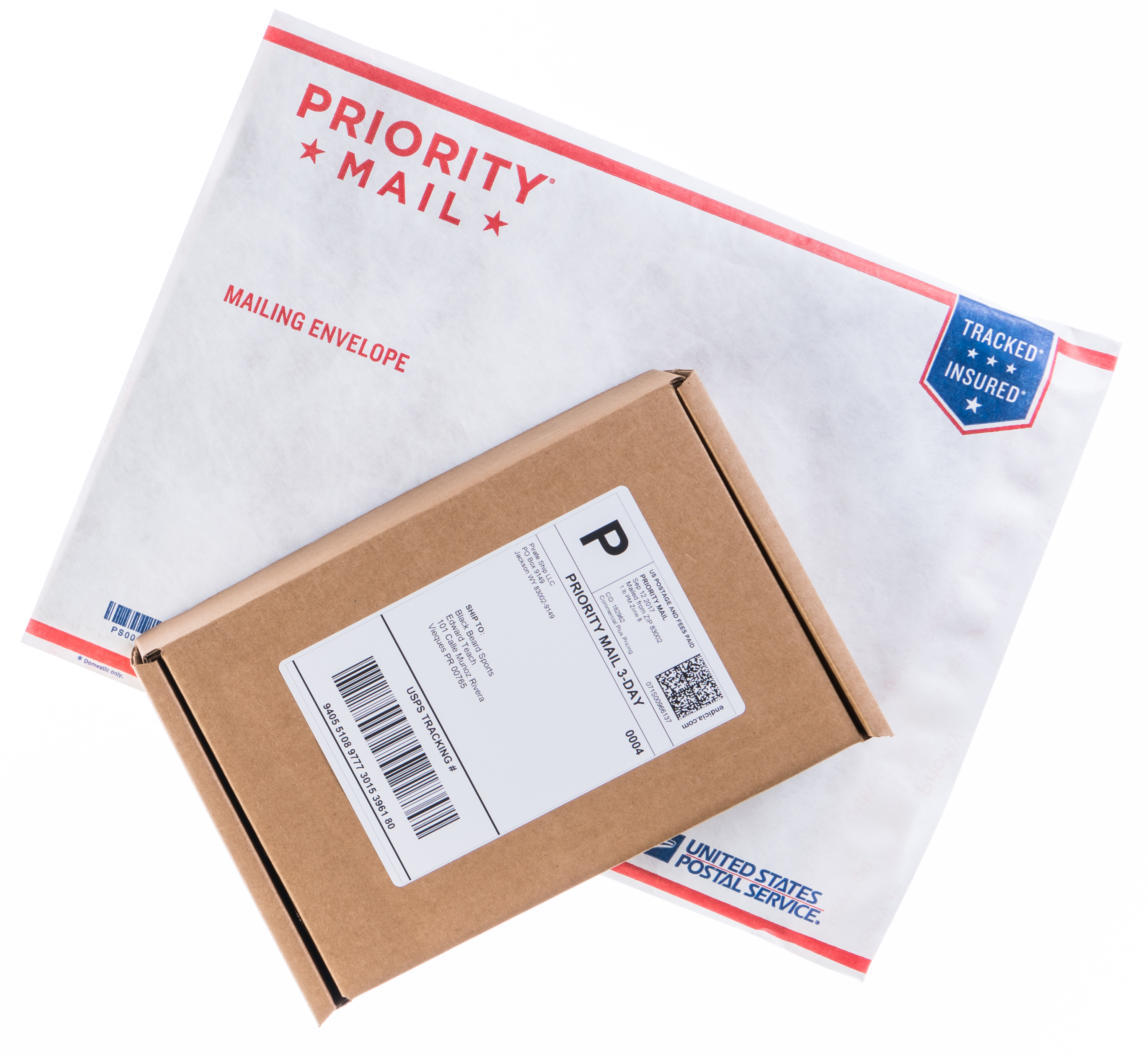 USPS Priority Mail mailing envelope and cardboard package