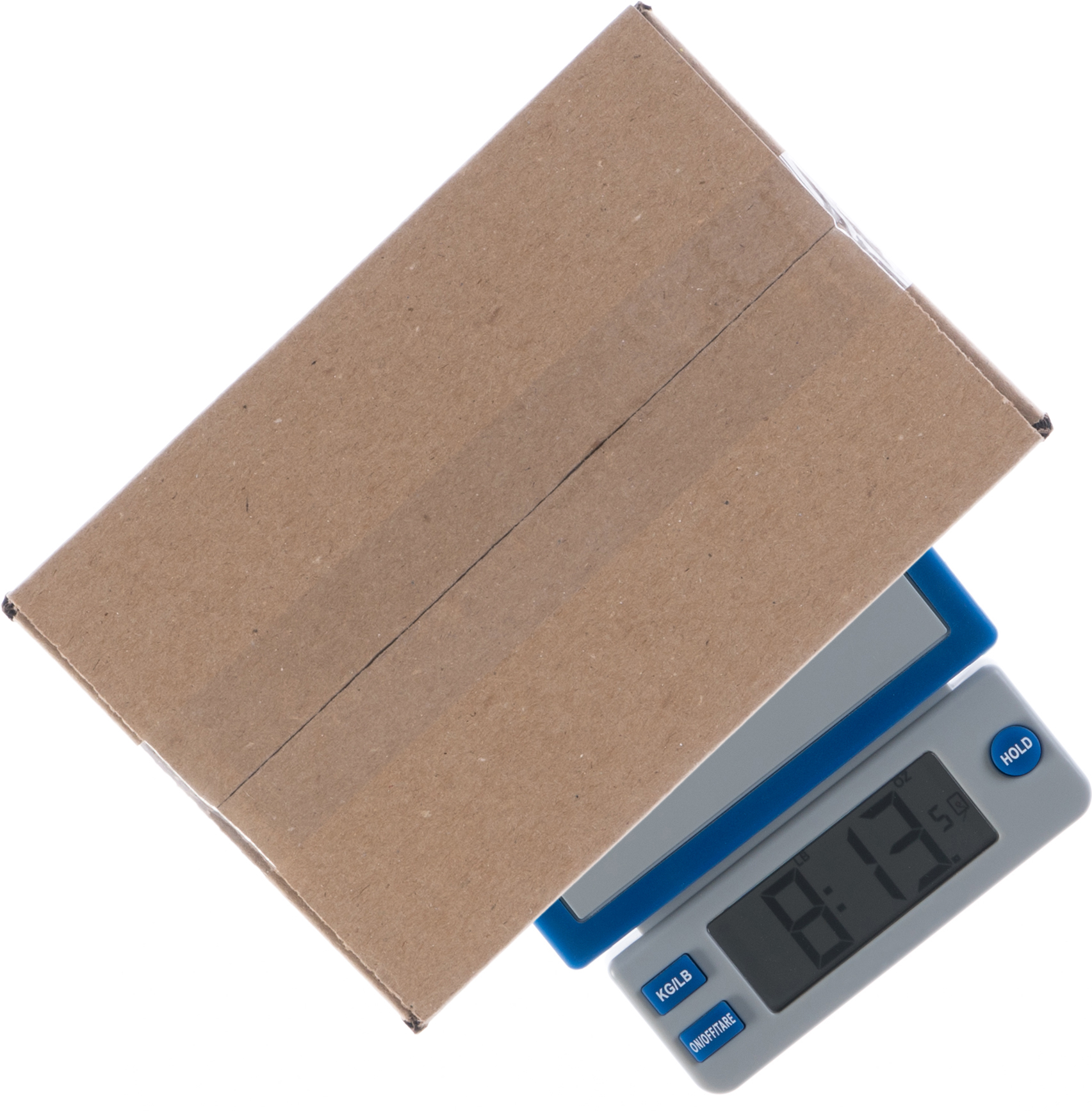 Cardboard box on a postage scale
