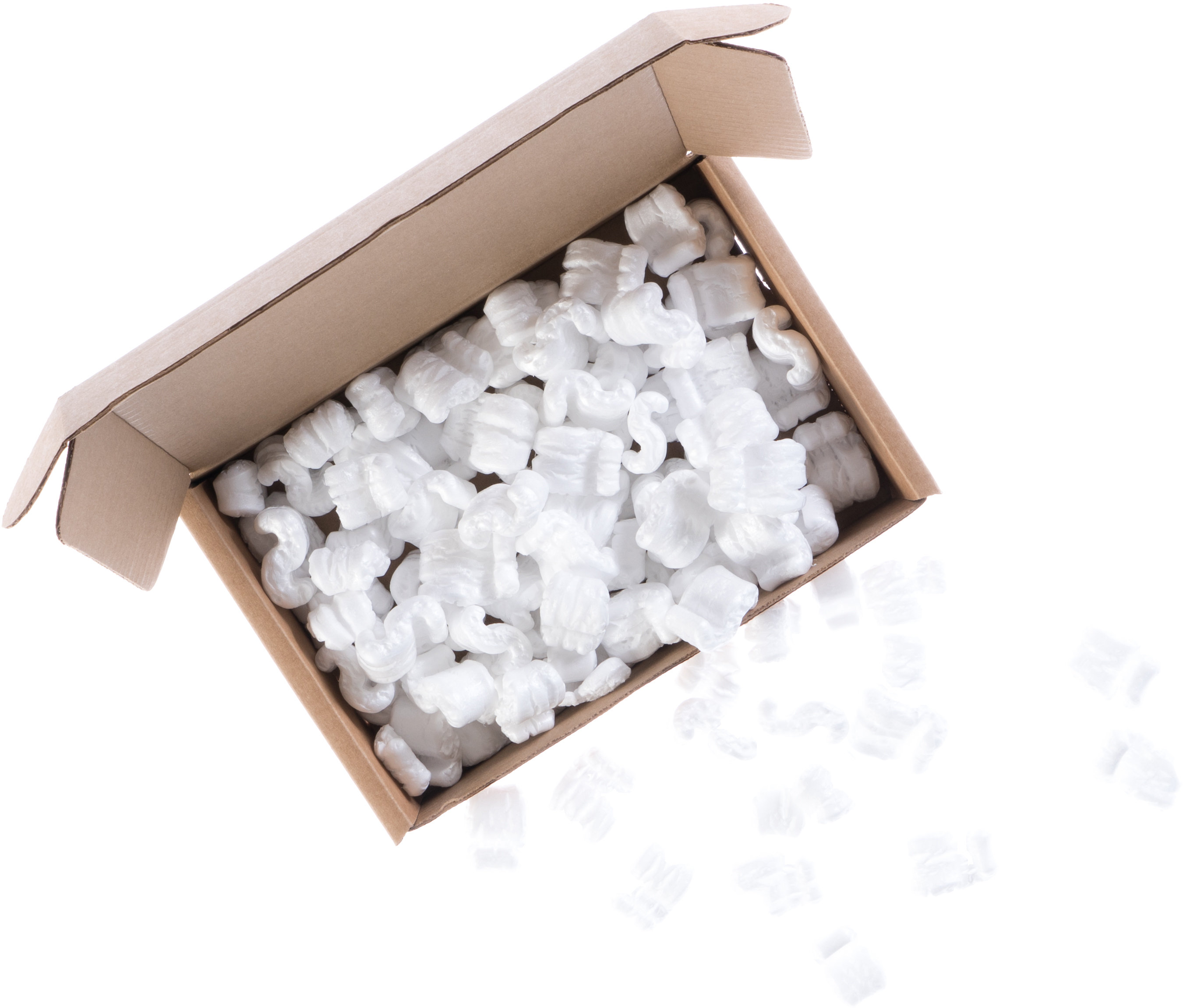 A photo of a kraft cardboard box with packing peanuts