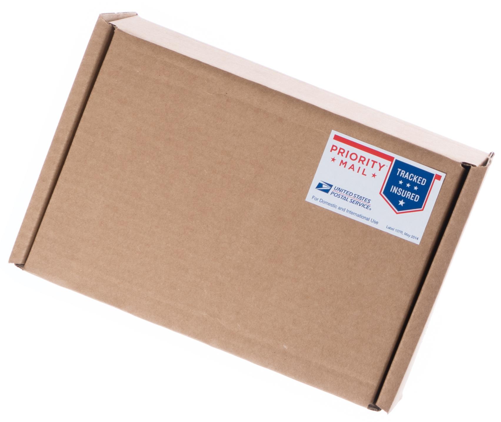 Cardboard box with Priority Mail sticker