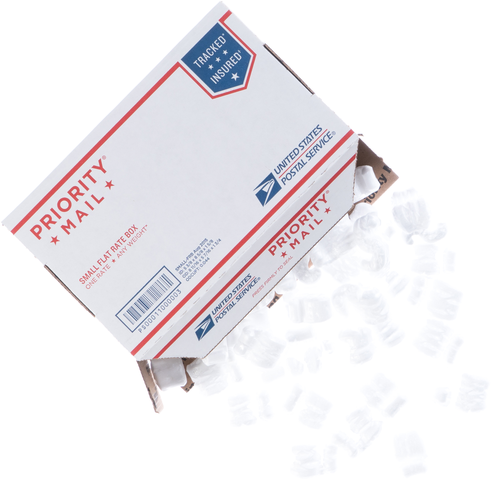 Priority Mail Small Flat Rate box with shipping peanuts