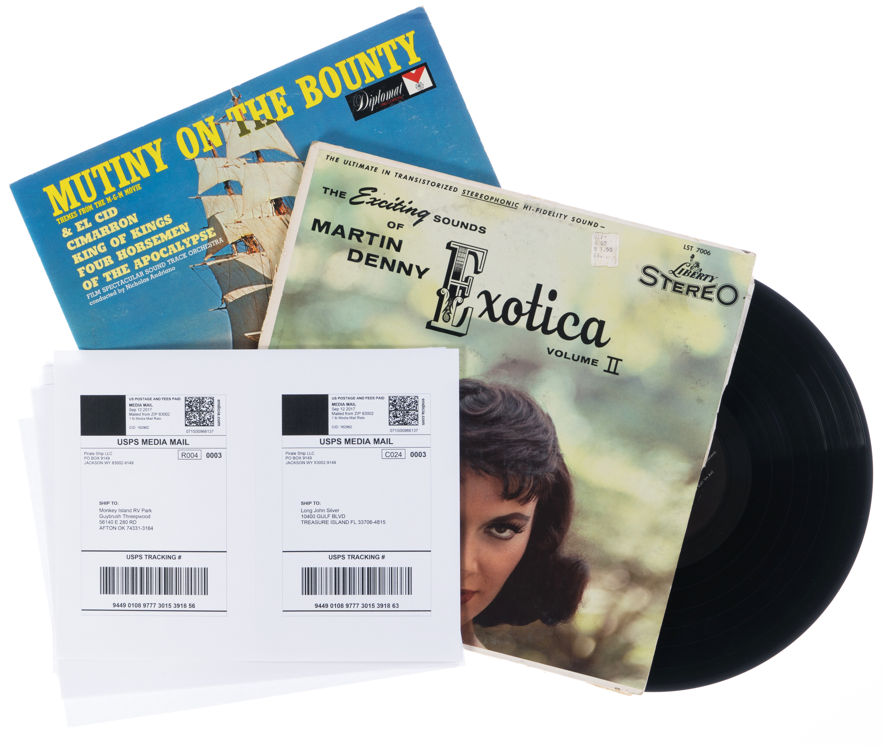 USPS Media Mail labels used to ship vinyl records