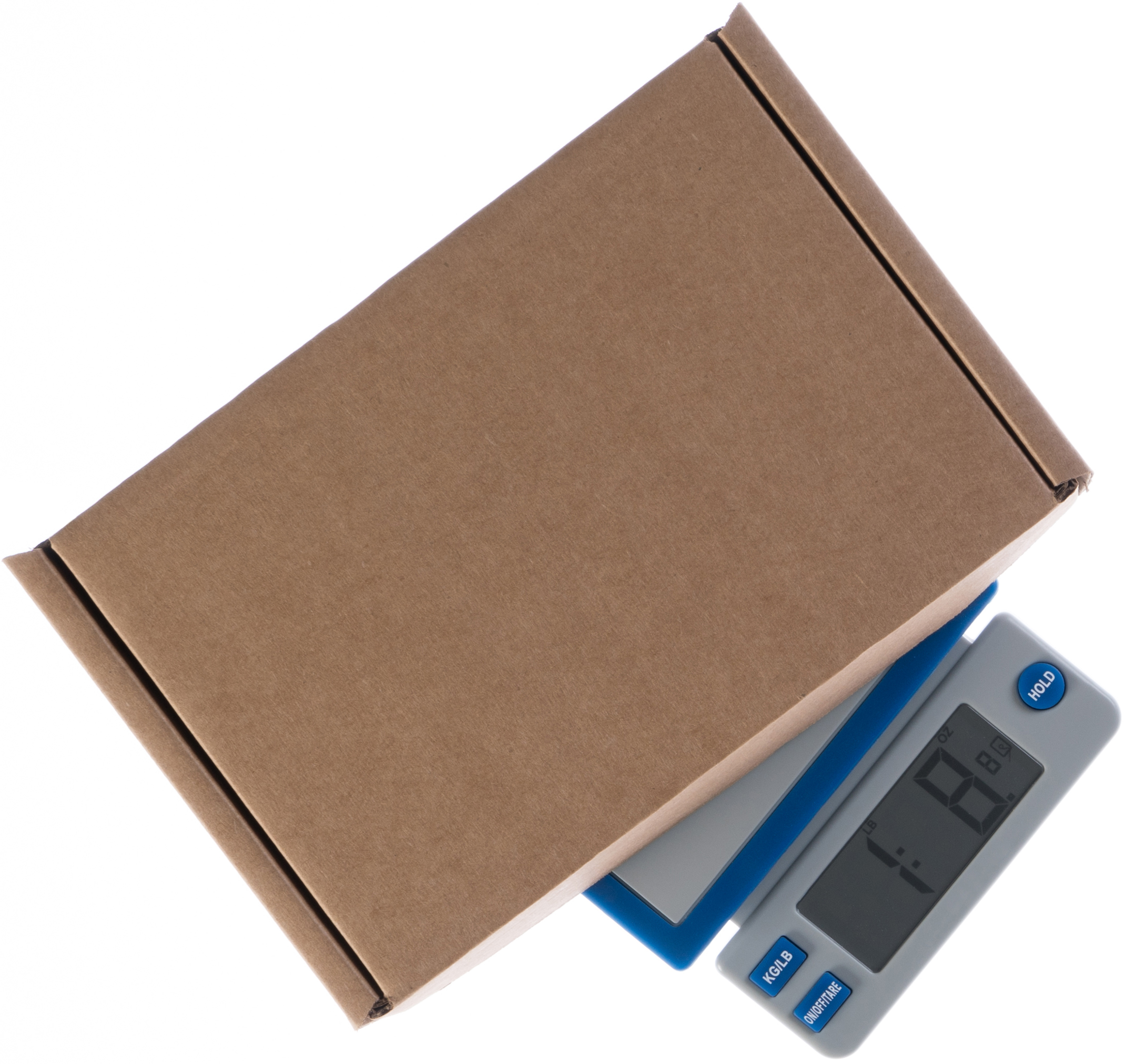 Postage scale with a cardboard box