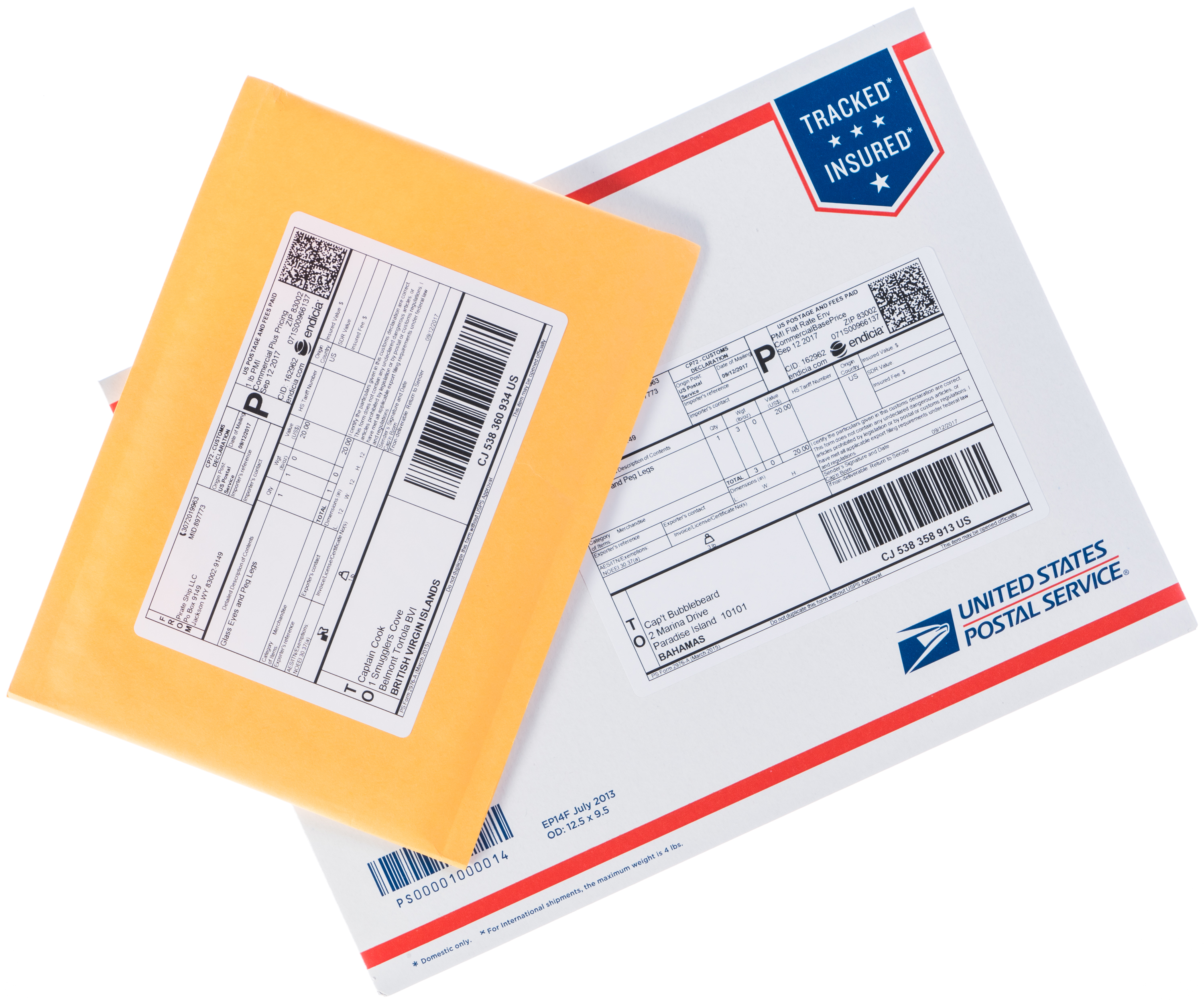 Priority Mail International Flat Rate Envelope and normal shipping envelope