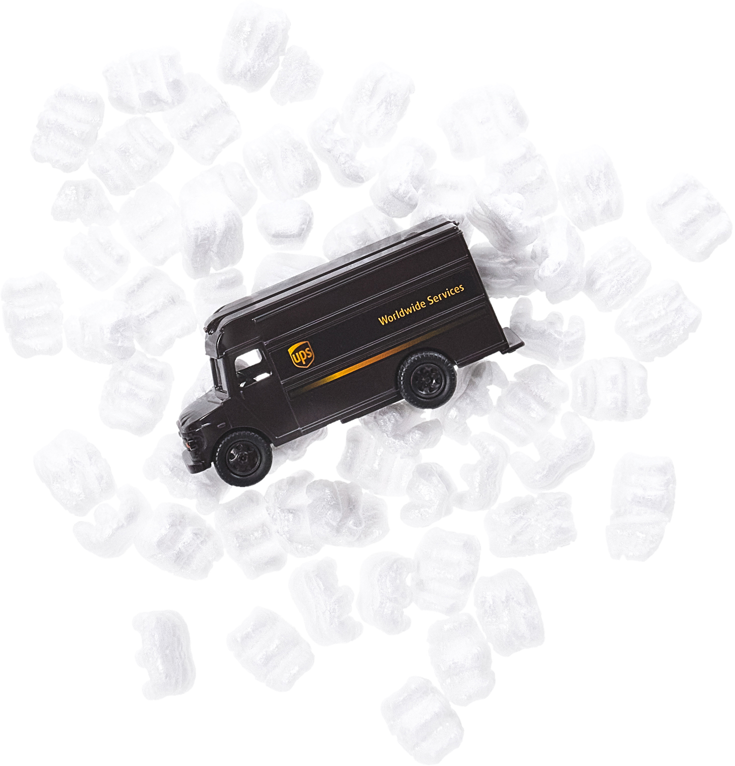 Toy UPS truck on shipping peanuts