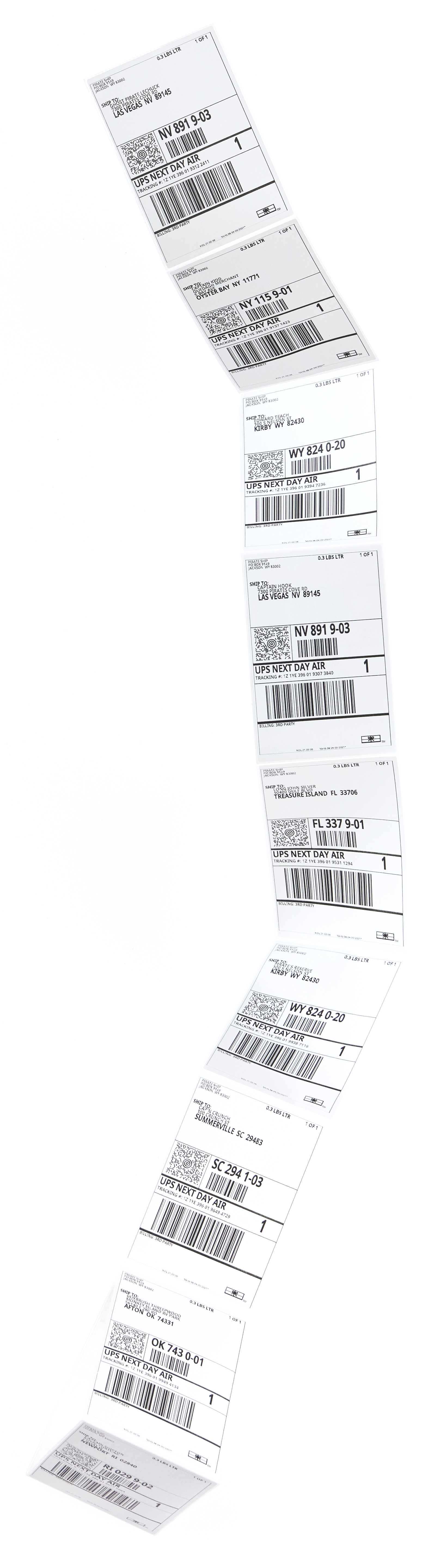 UPS Next Day Air rate shipping labels