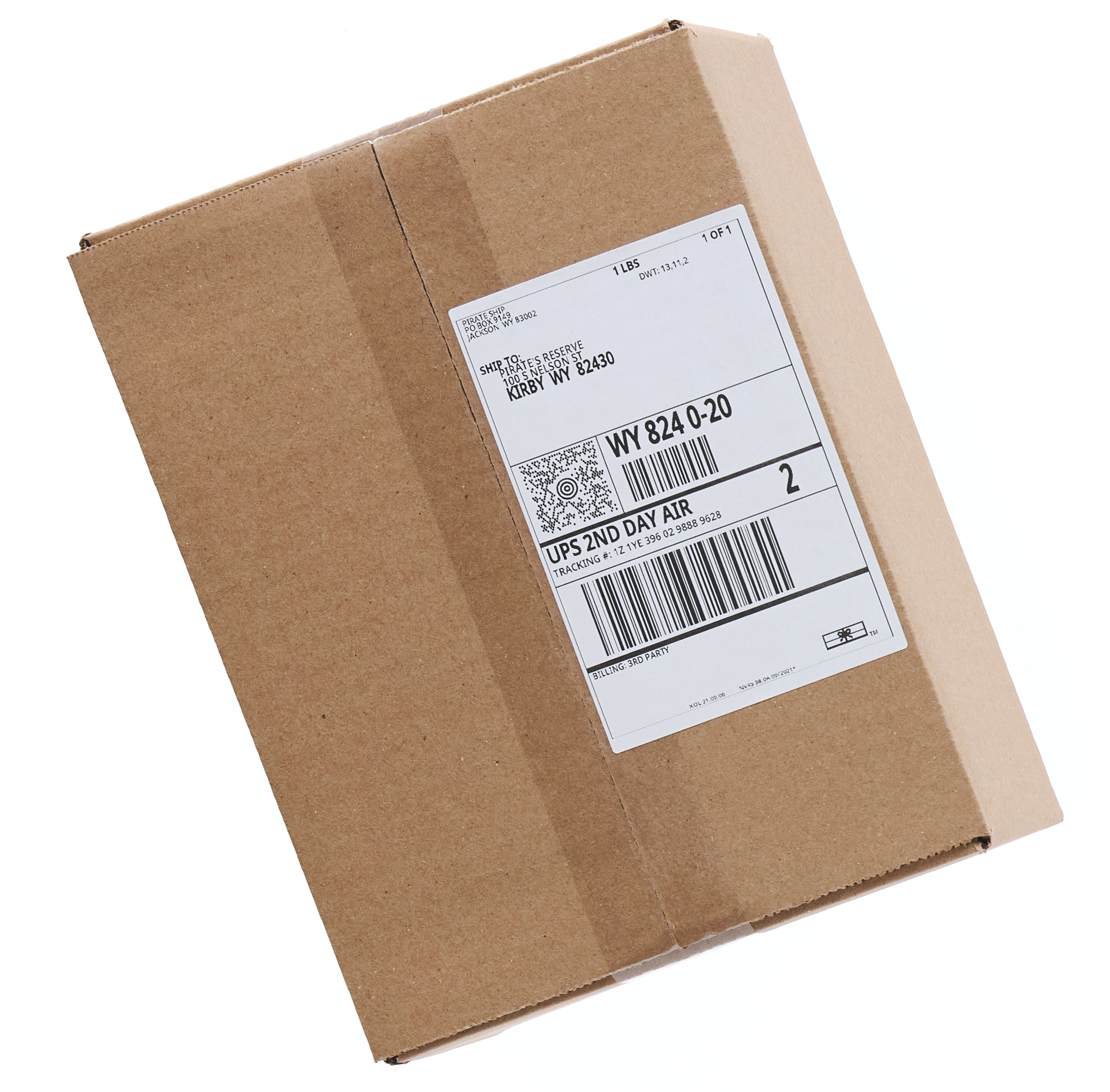 UPS 2nd Day Air shipping label on a package