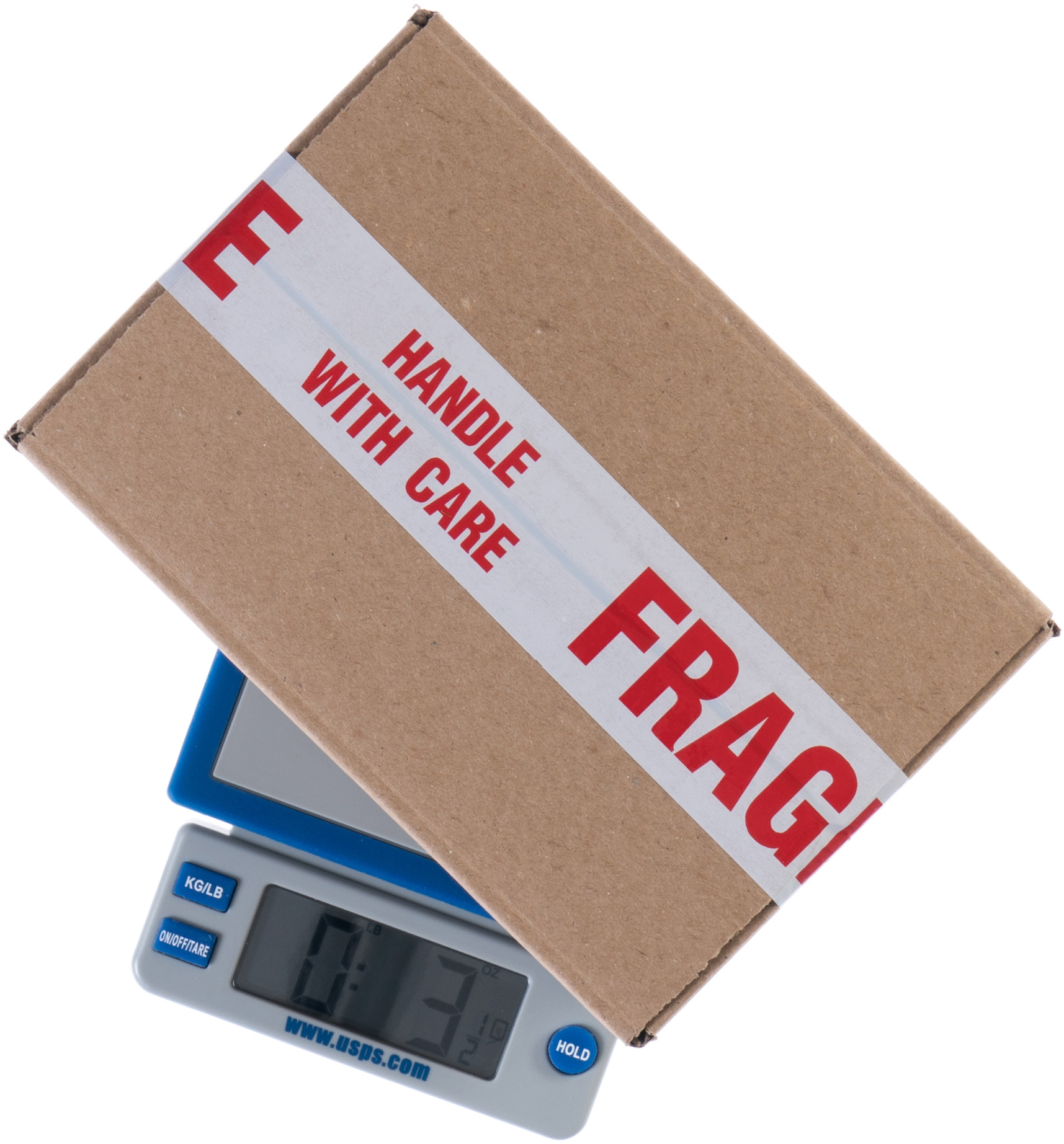 A shipping scale with a fragile box on it