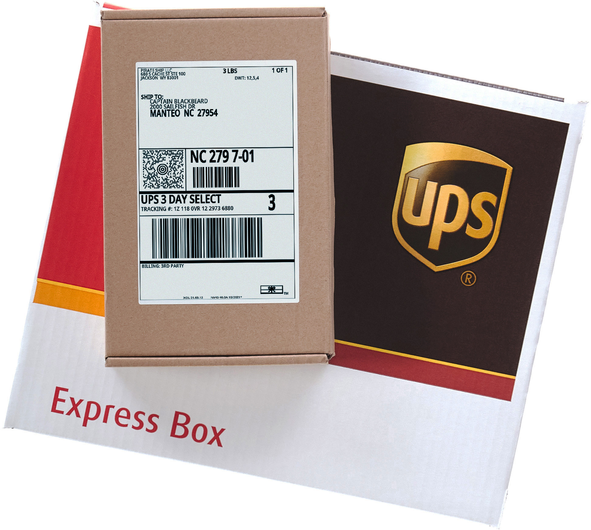 UPS 3 Day Select shipping label on a Express Box