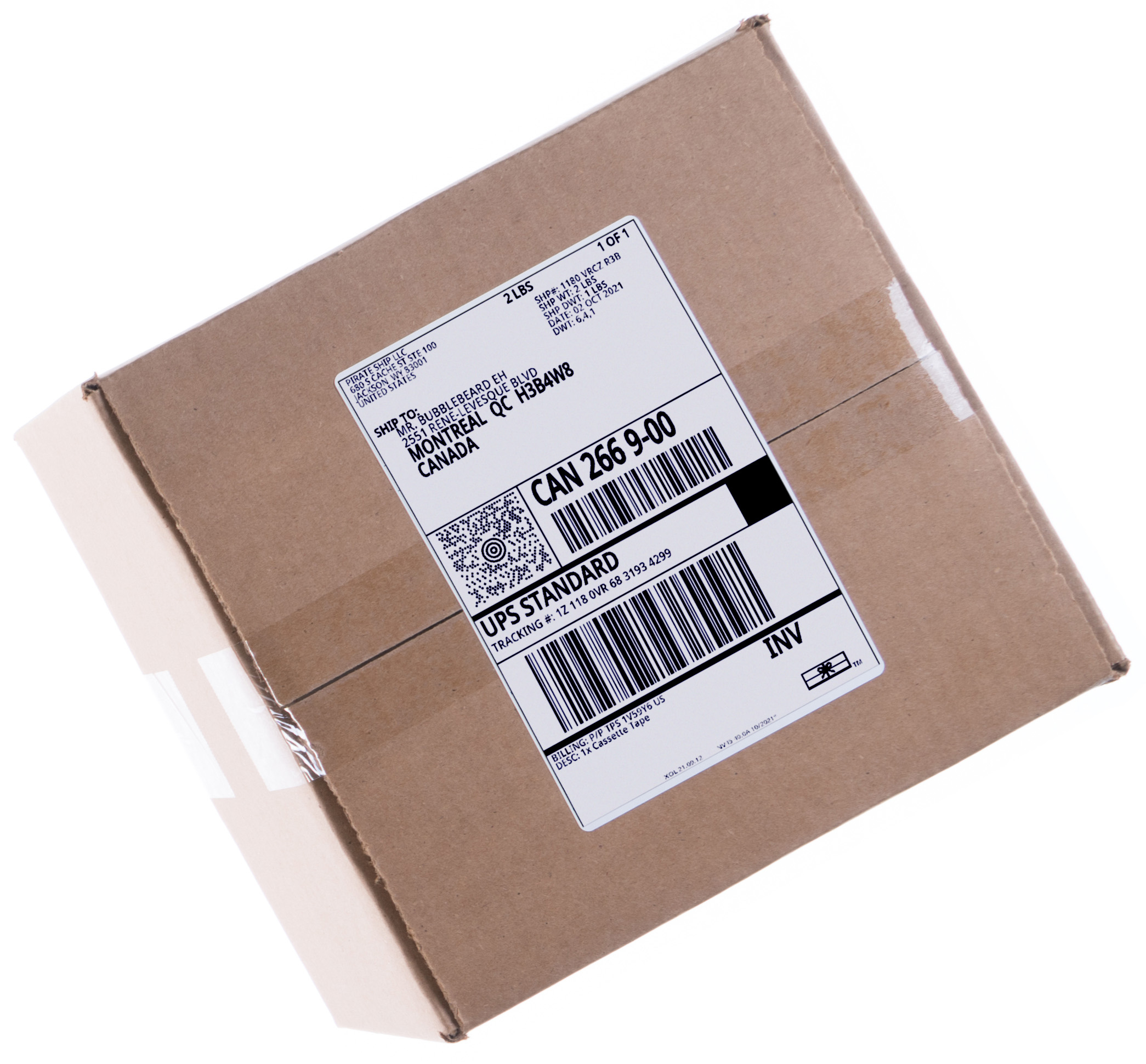 UPS Standard shipping rate label on a box