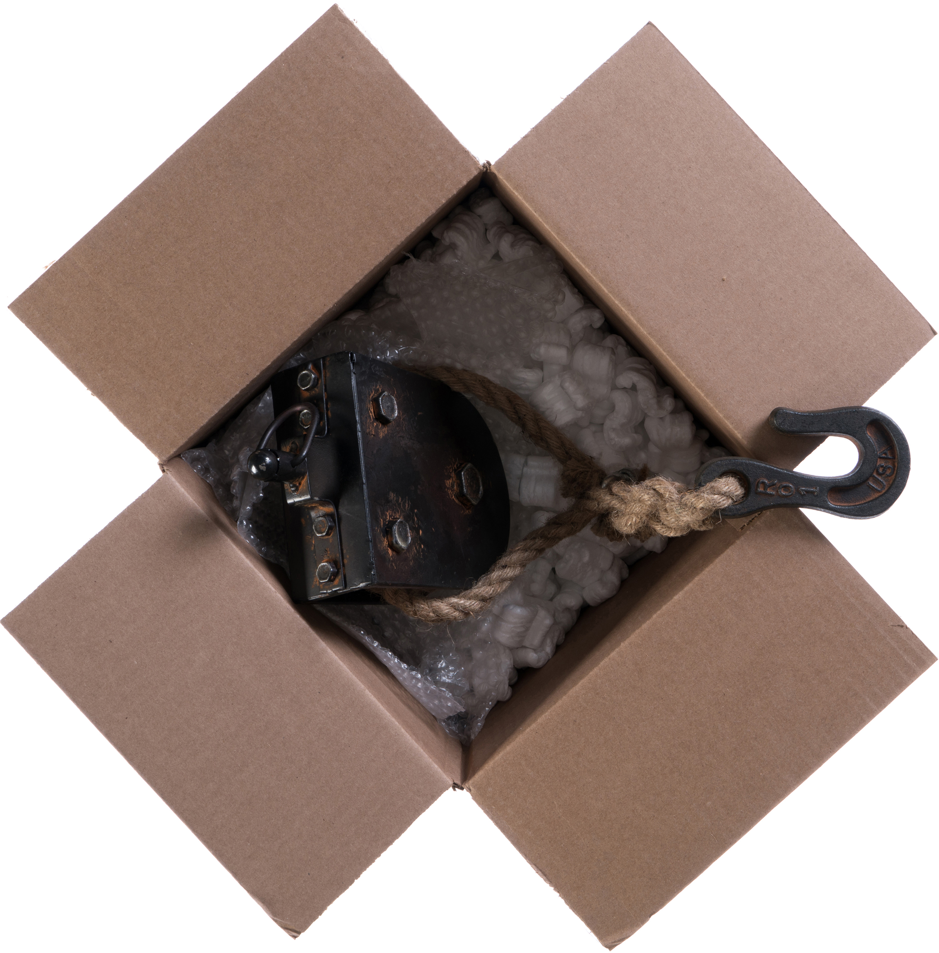 Shipping box with a pulley in it