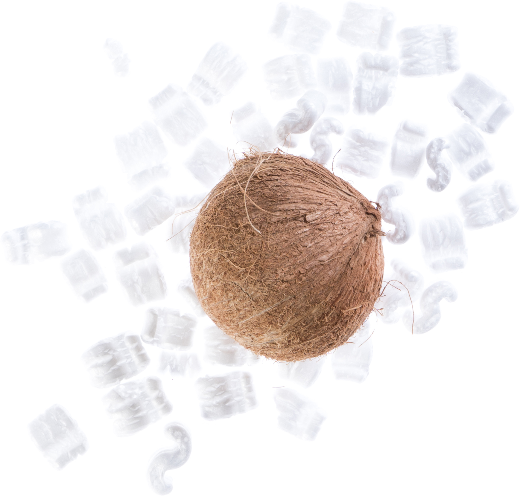 A coconut and shipping materials