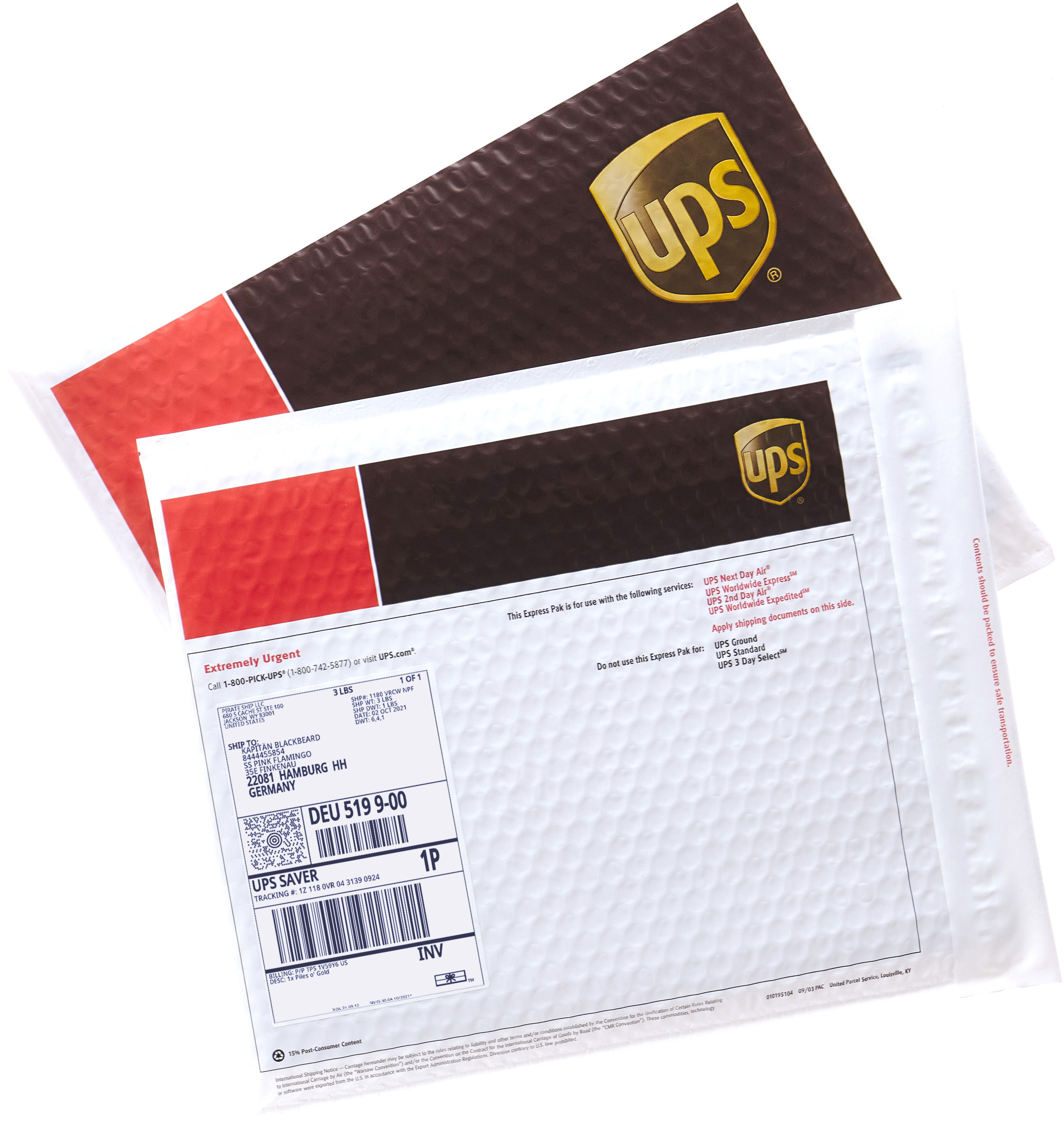 Discounted UPS Worldwide Saver shipping labels on an Express Pak
