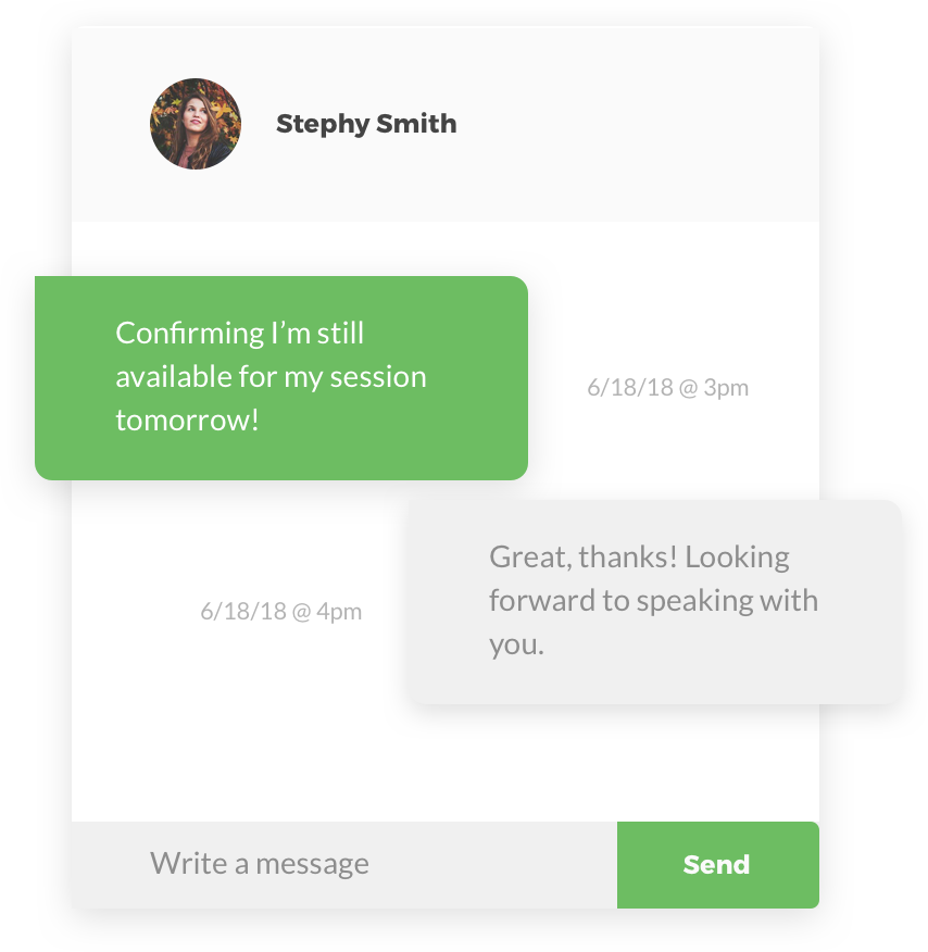 Screenshot of our participant messaging capabilities