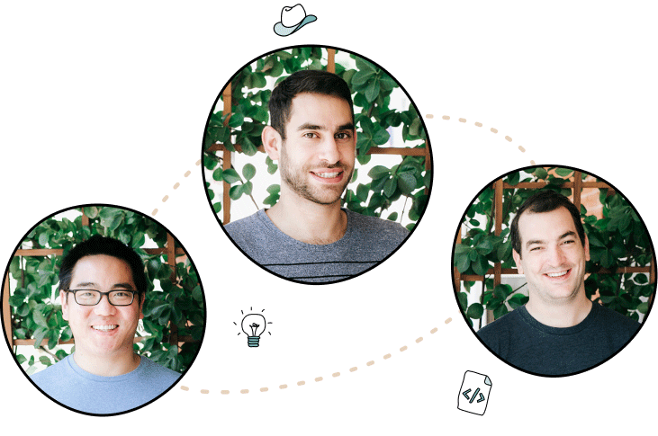 photo collage of User Interviews' three co-founders plus some illustrative lines and icons