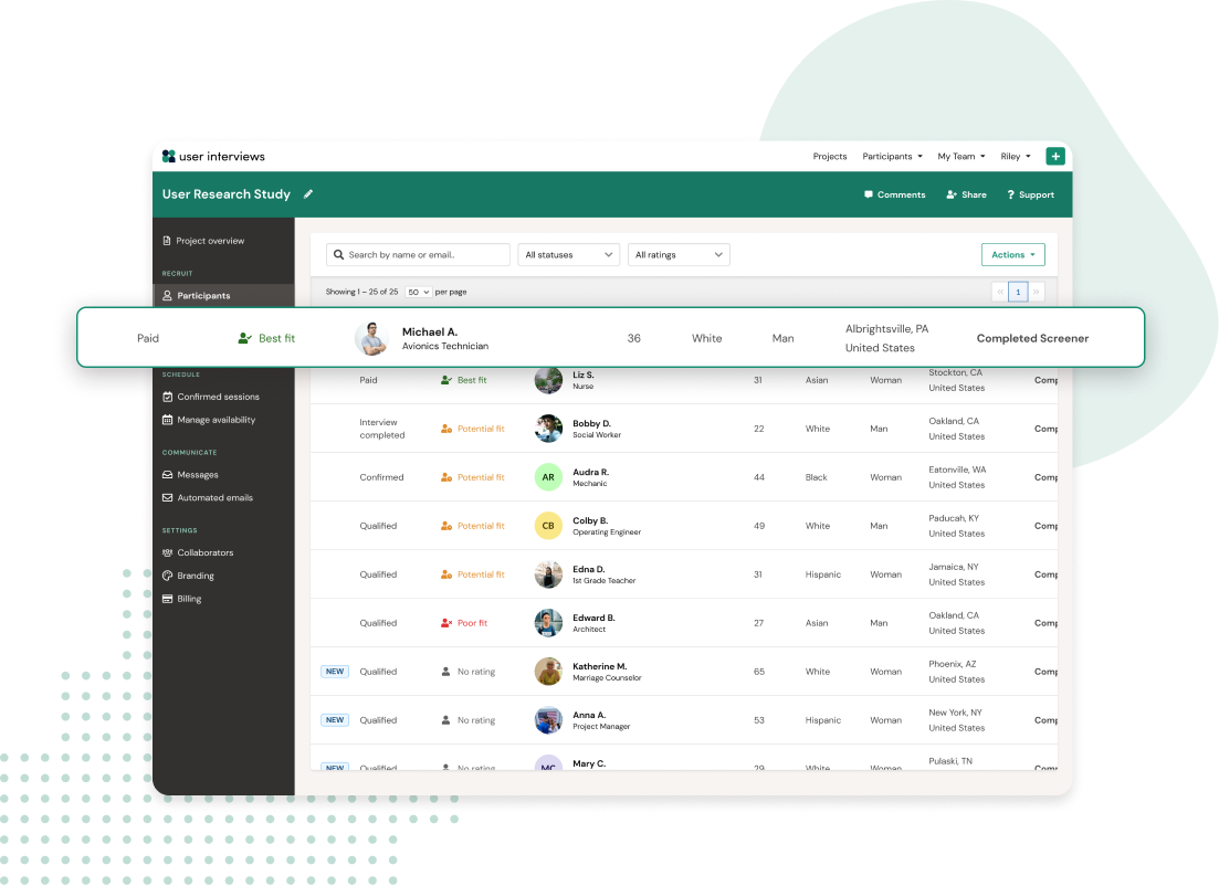 dashboard view of the Recruit product