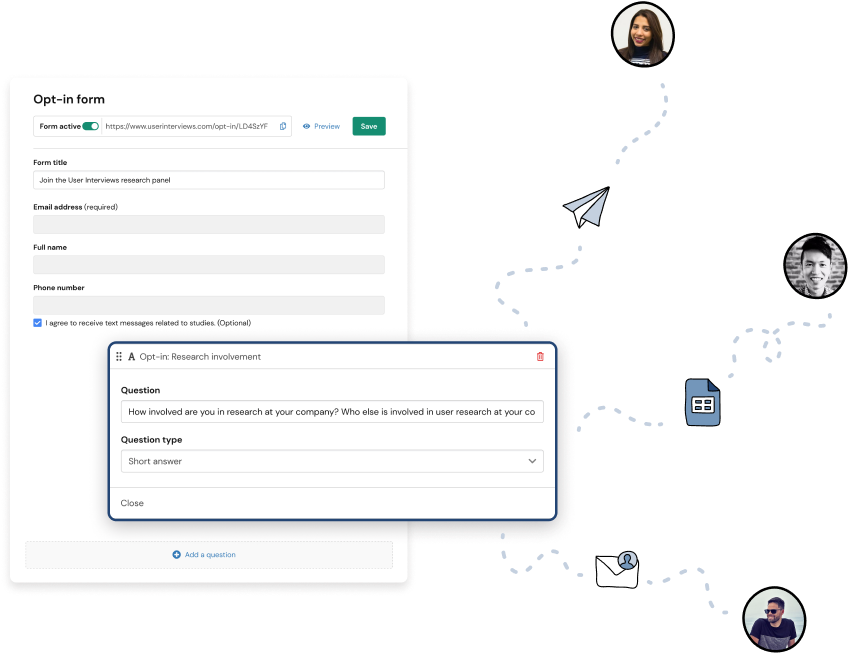 a detail view of adding users to research hub via opt-in forns with an illustration of that window being sent to participants