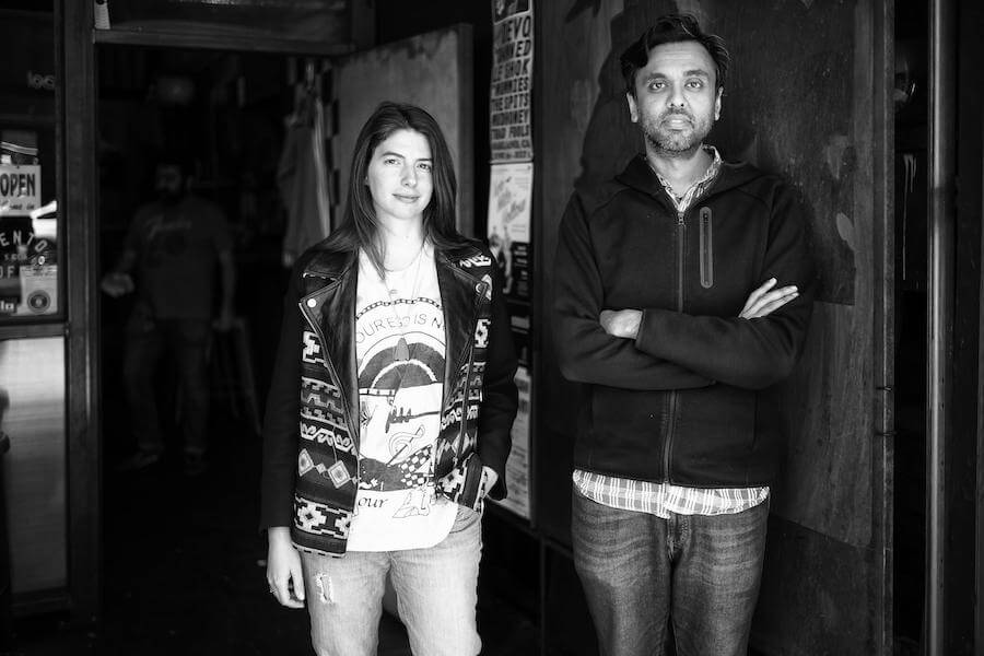 A photo of Marie Prokopets (left) and Hiten Shah (right).