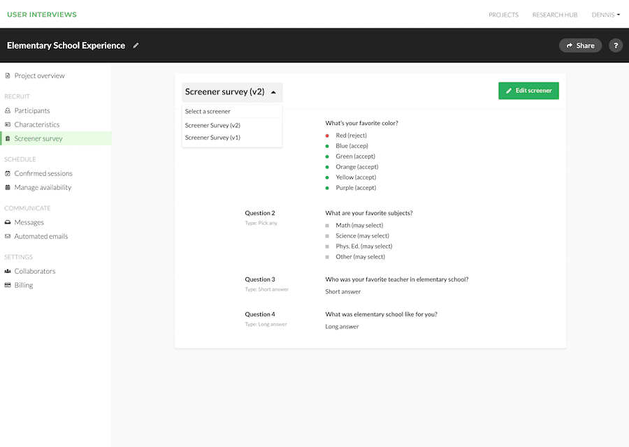 The User Interviews dashboard when you are viewing your Screener surveys.