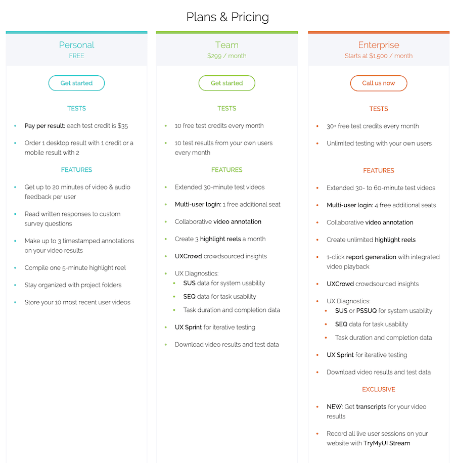 TryMyUI Pricing and Plans: Personal, Team and Enterprise.