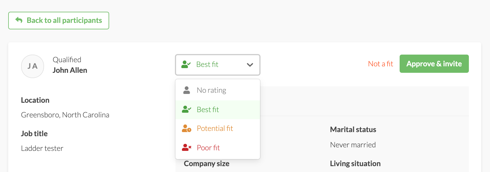 Rating dropdown in an individual participant profile.