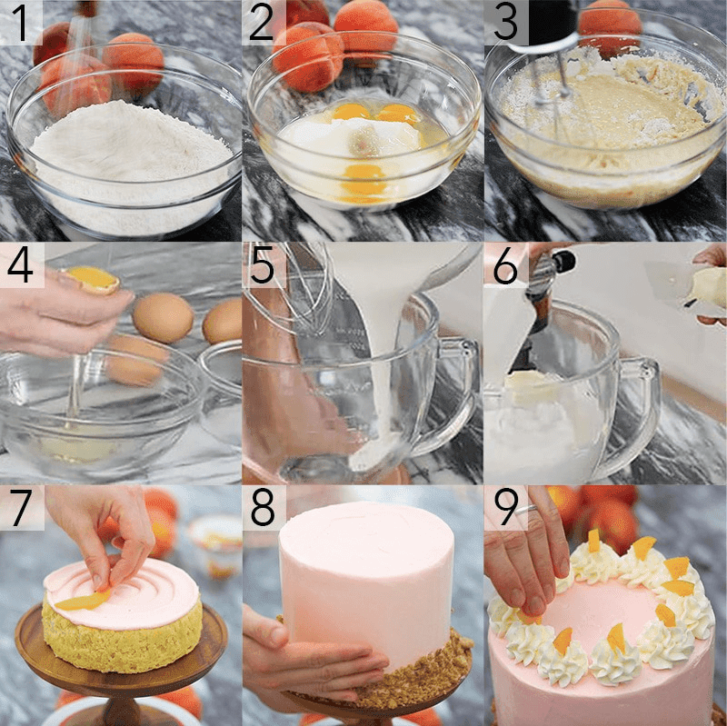 9 pictures that break down the steps of how to make a cake.