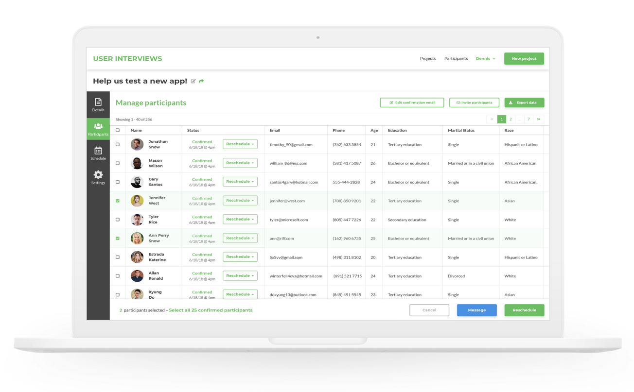 A view of the User Interviews dashboard showing participants and their information. User Interviews is an excellent alternative to Ethnio. Not only can you recruit your own users, but you can find participants who are similar to your target users, too.