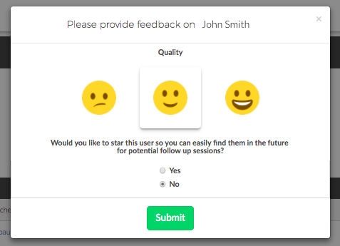 Please provide feedback on John Smith: Would you like to star this user so you can easily find them in the future for potential follow up sessions? (Yes or no)