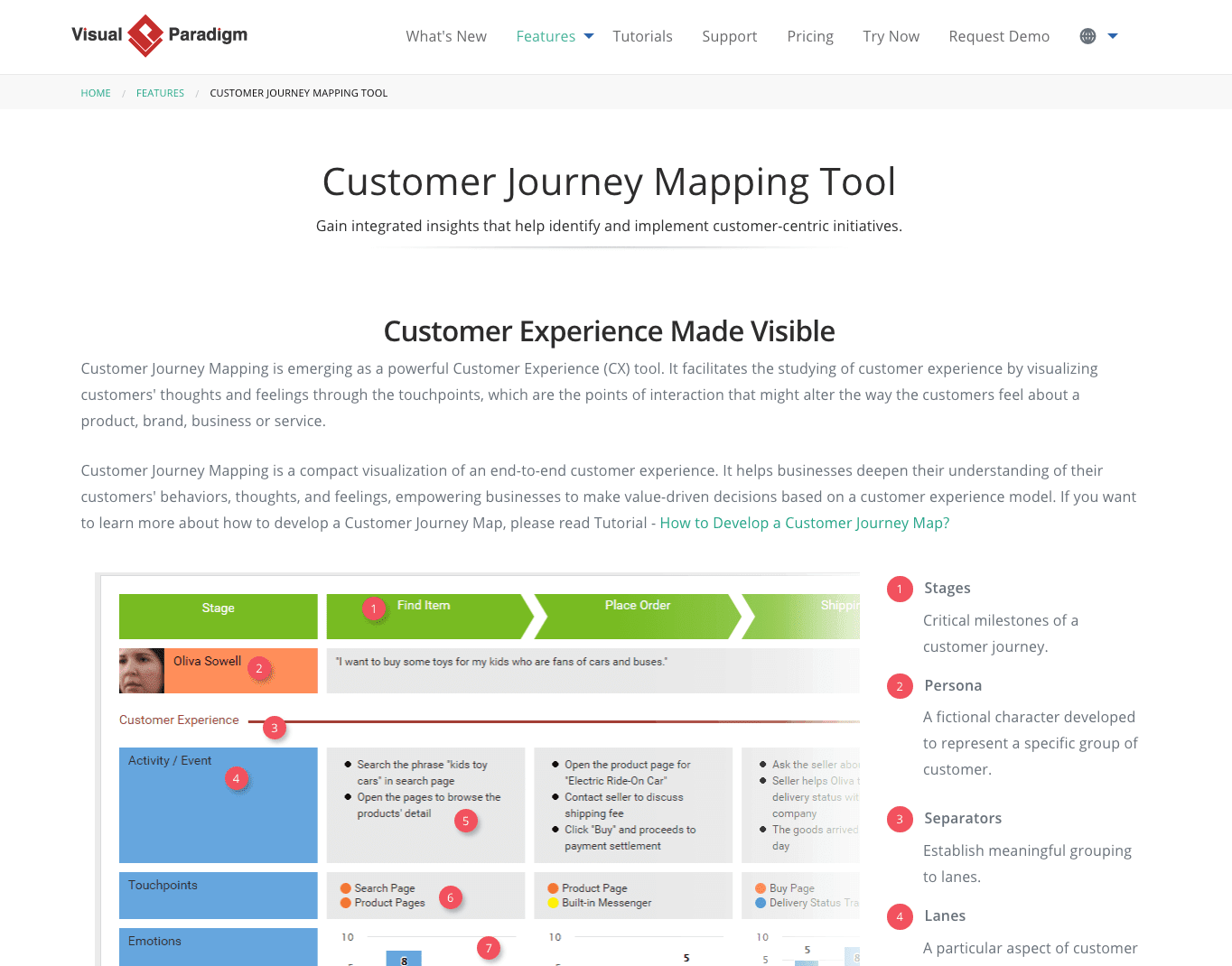 Dedicated Customer Journey Mapping Tools: Visual Paradigm
