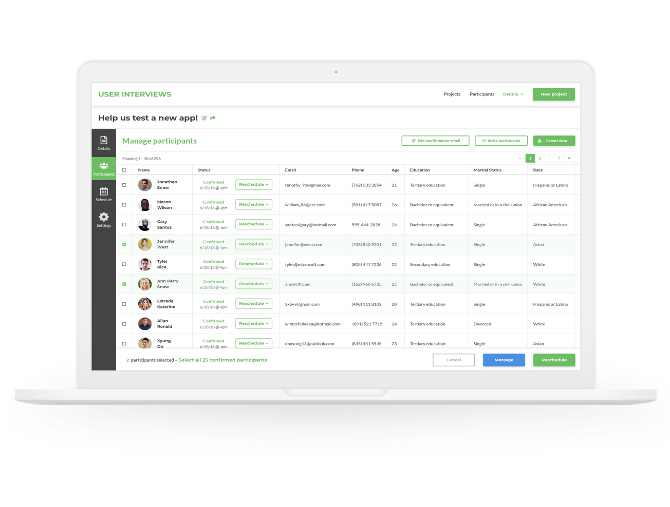 A preview of the User Interviews Dashboard