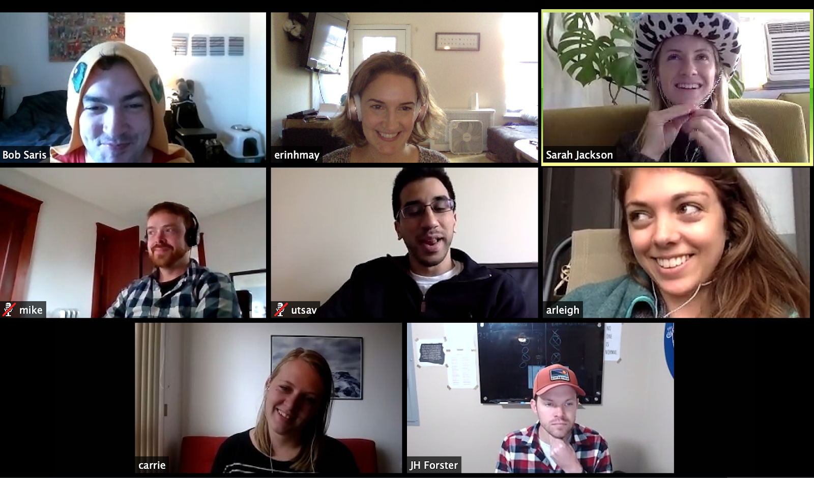 Gallery view of a Zoom meeting with a fully remote team