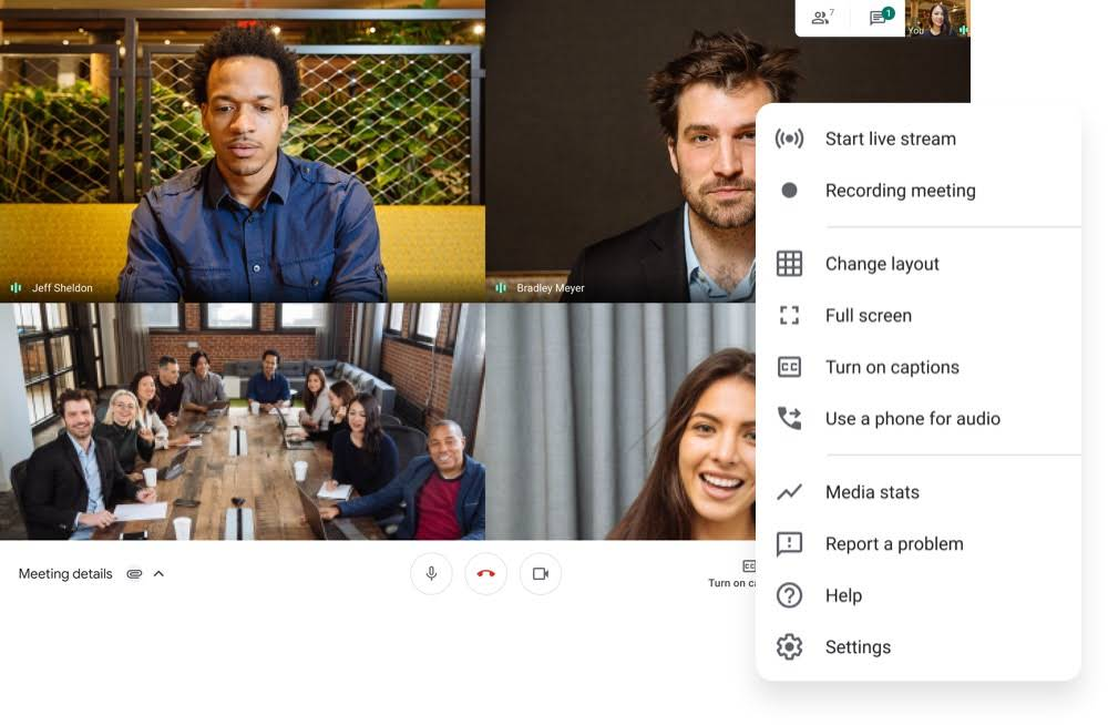 google meet video conferencing features