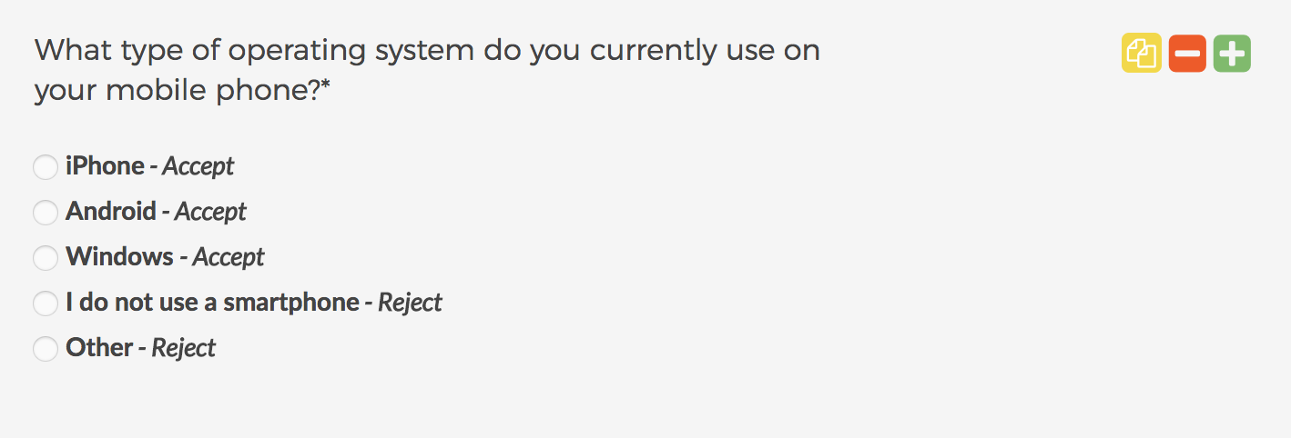 Screener survey question - operating system - The Total Guide to User Research Recruiting - User Interviews