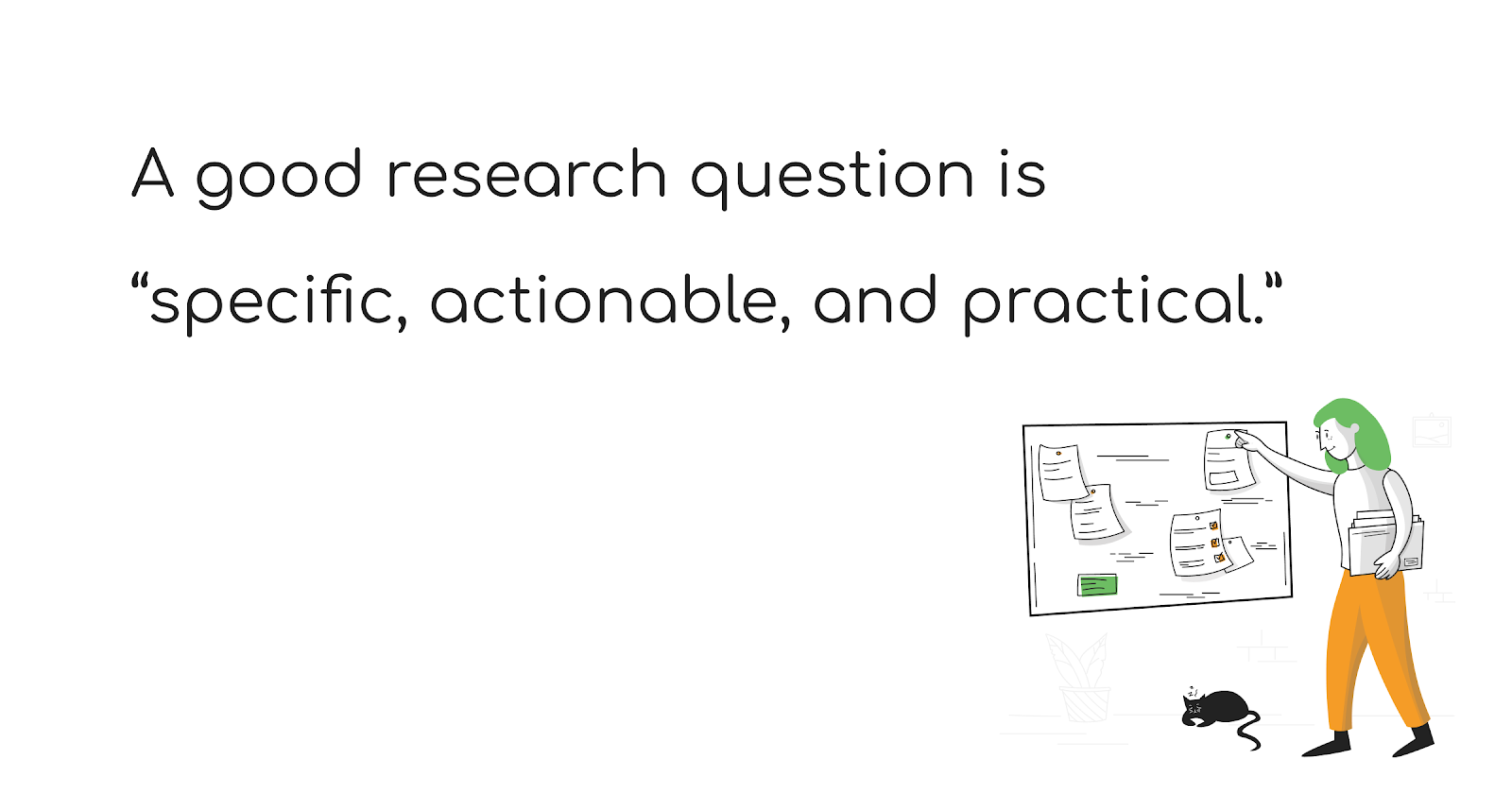 A good research question is specific actionable, and practical - The Total Guide to User Research Recruiting - User Interviews