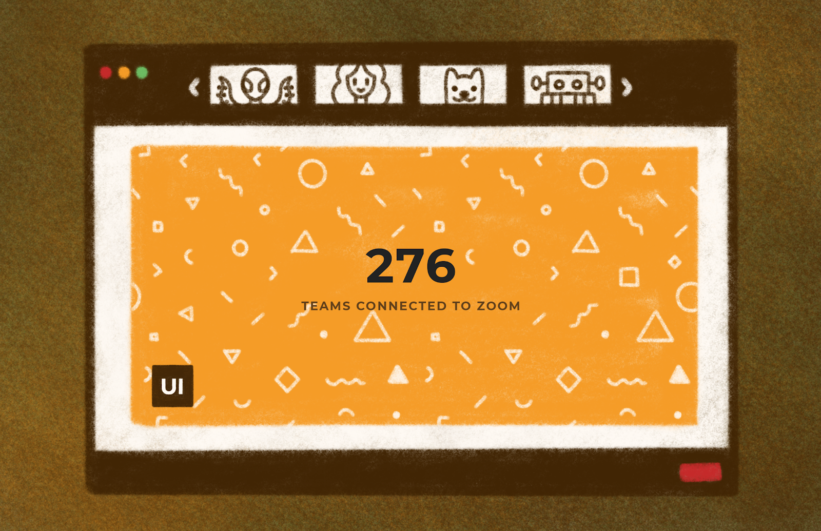 Computer screen illustration on brown background. Statistic about User Interviews Zoom integration users.