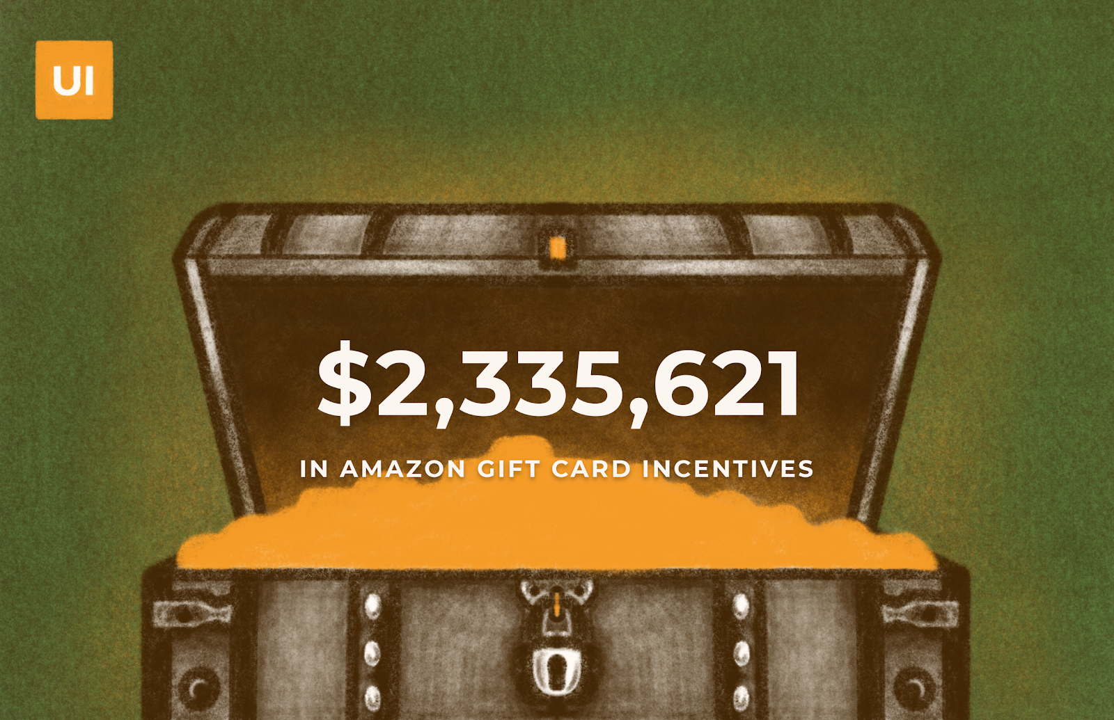 Open treasure chest illustration with statistic about Amazon gift card incentives distributed by UX researchers.