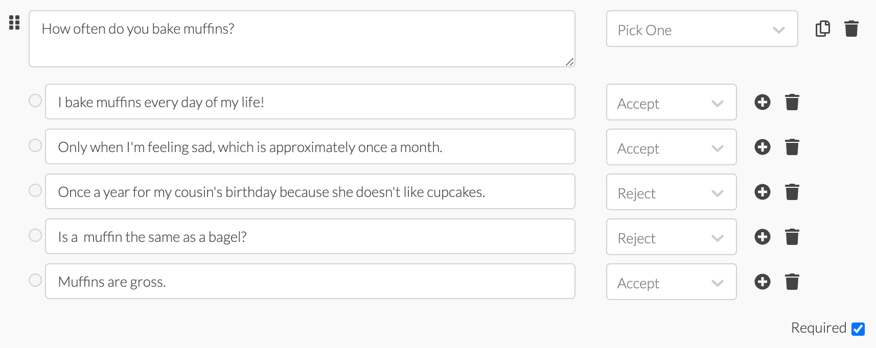 fun screener survey example question about muffins