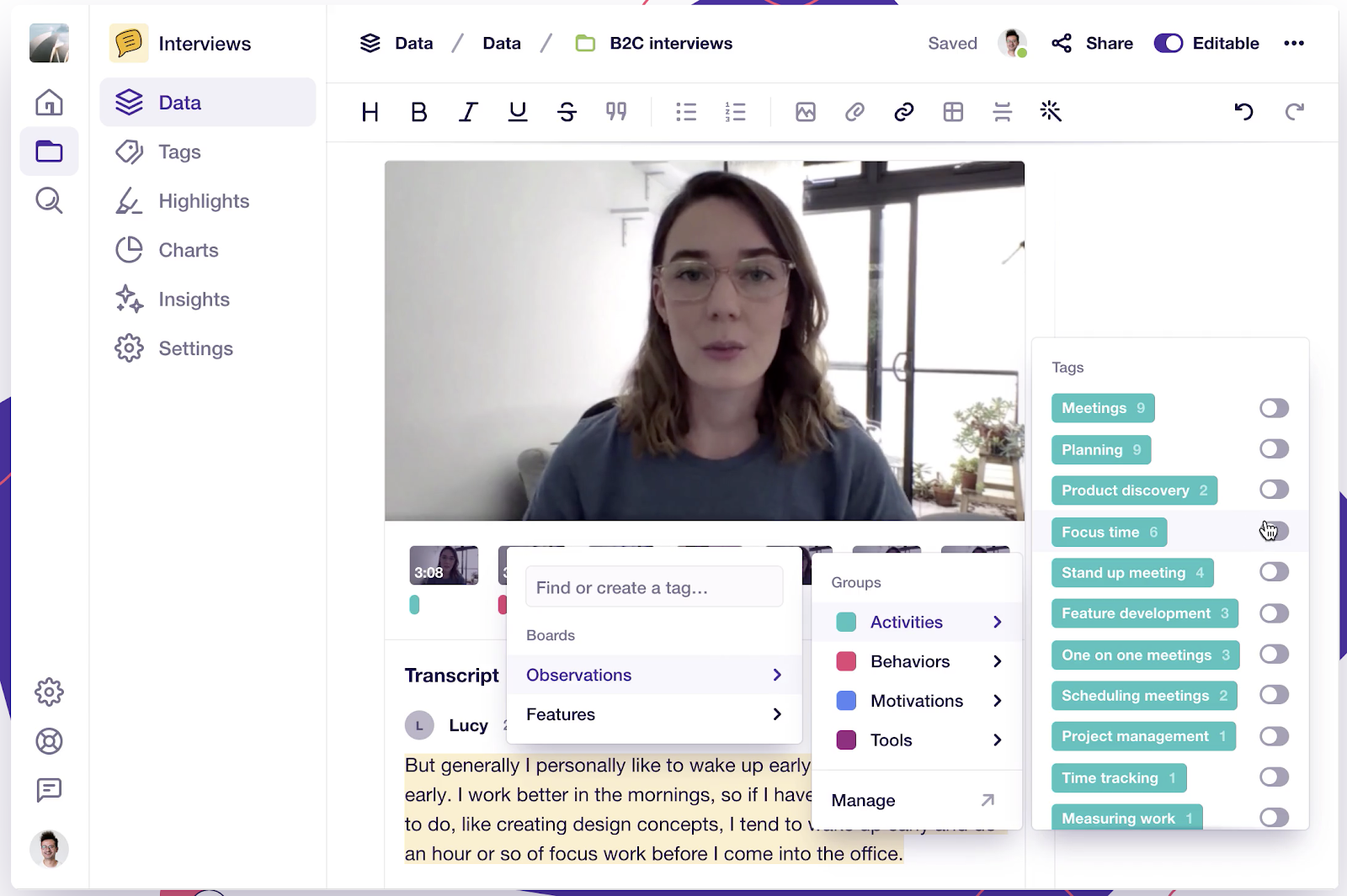Dovetail dashboard with video and transcript being edited