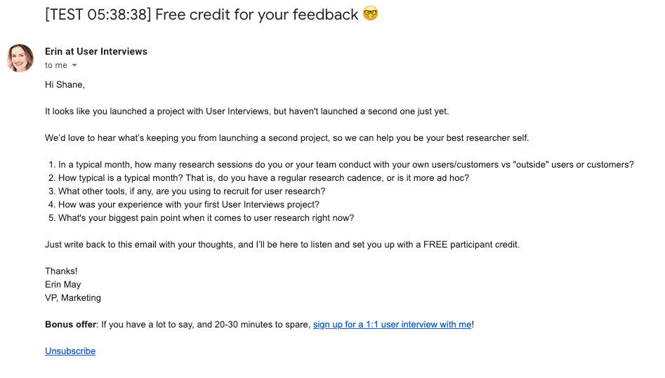User Interviews test participant email