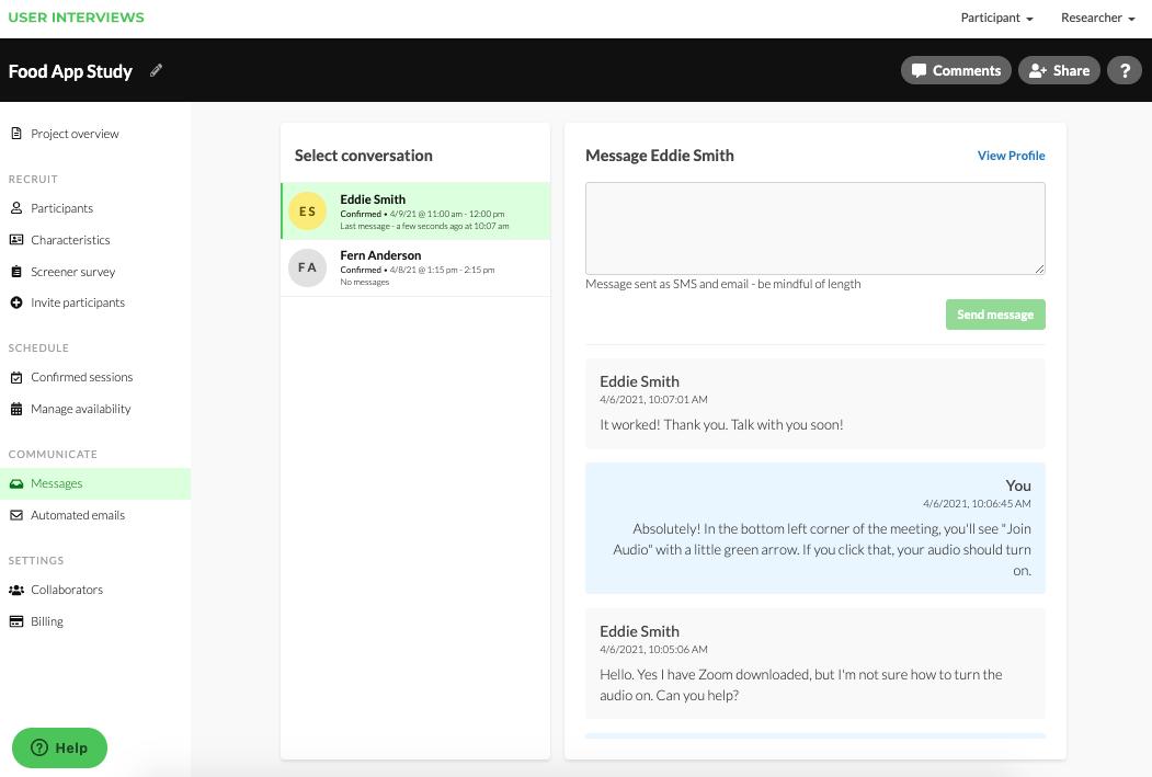 Screenshot of the User Interviews platform with messaging