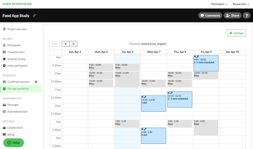 Screenshot of the User Interviews platform with calendar scheduling