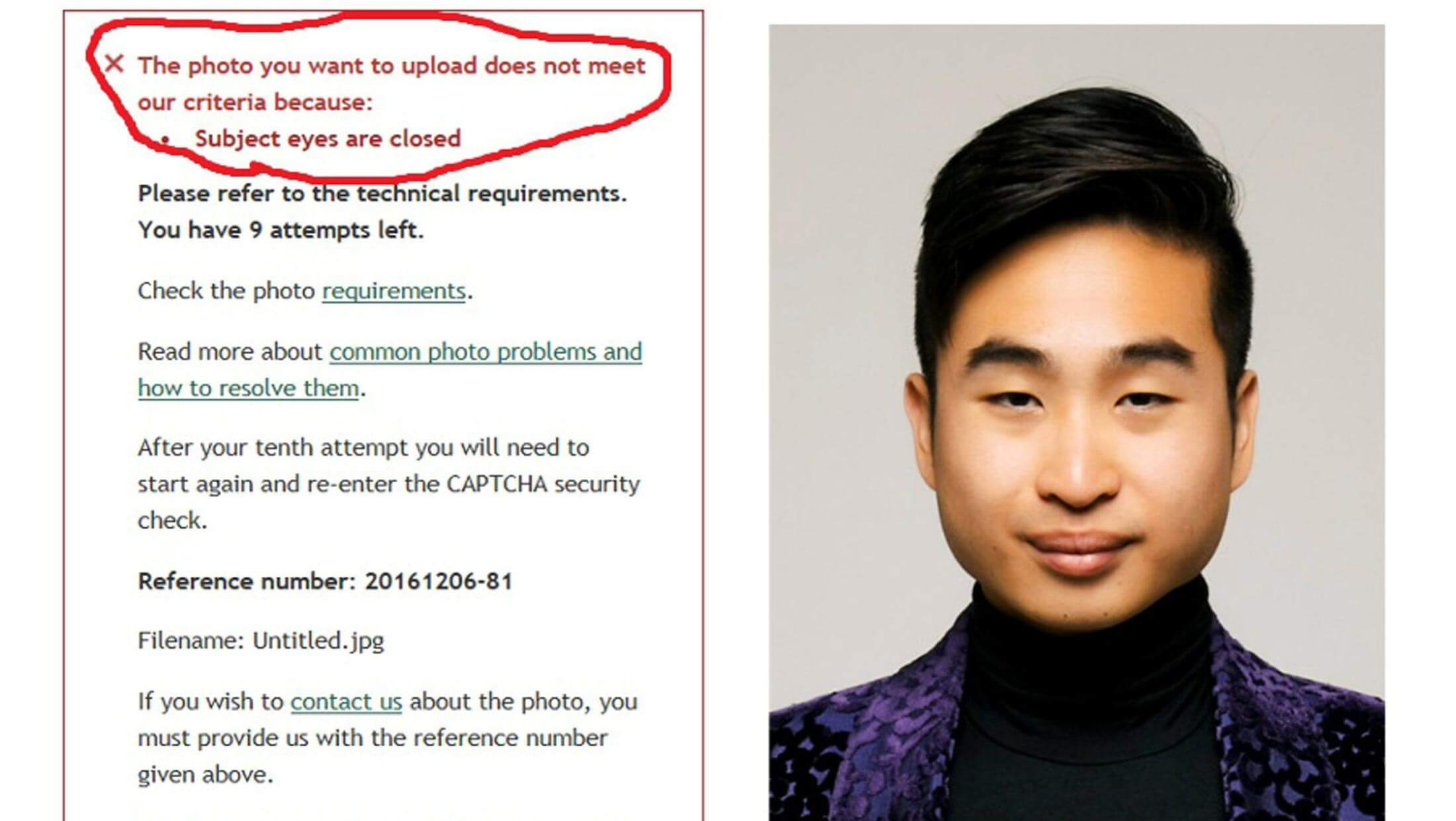 """algoritmic photo checker gave East Asian man """"subject eyes are closed"""" error message"""