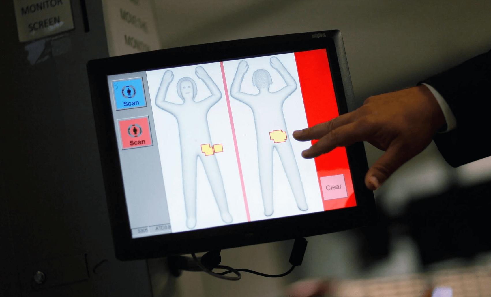 TSA airport full body scanner screen with binary gender options