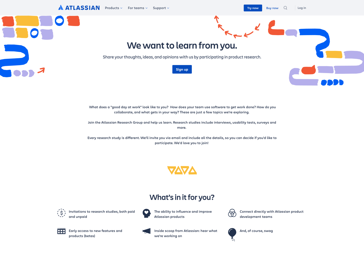 atlassian panel signup page