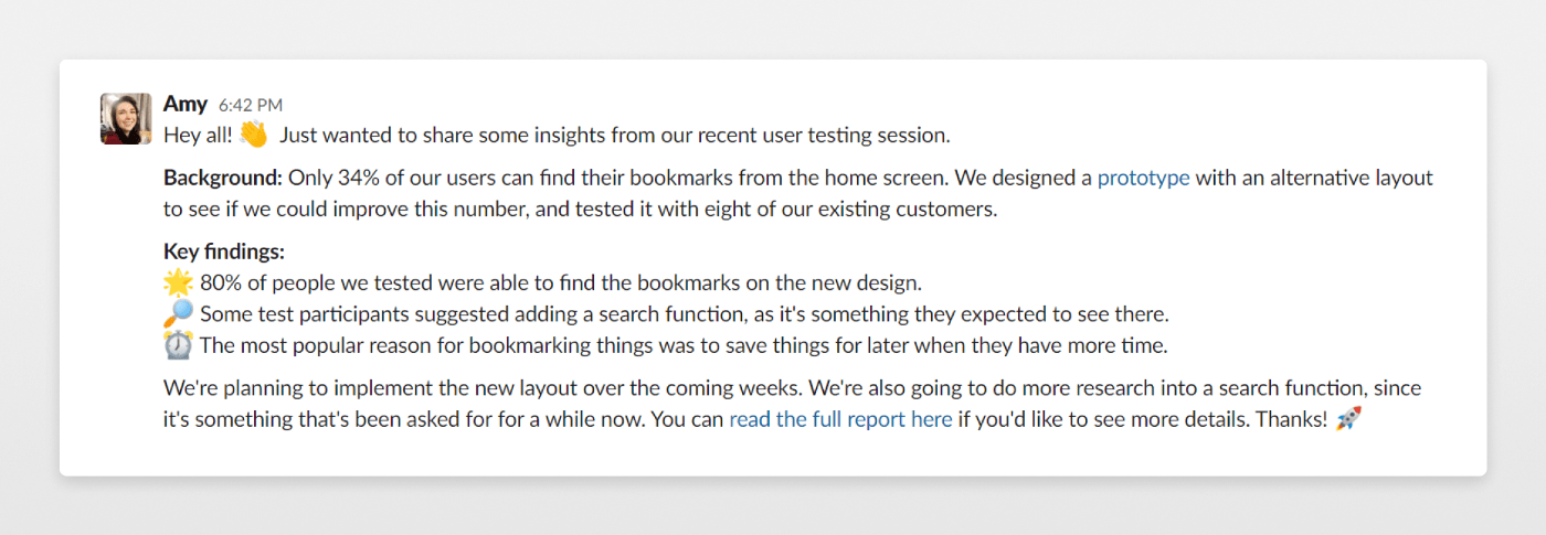 slack message sharing ux research findings