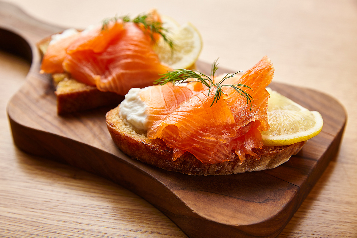 Crostini with Stracciatella from Puglia, Smoked Wild Salmon, Lemon and Dill