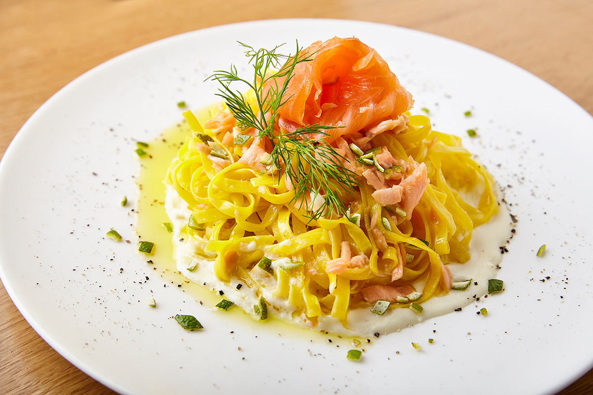 Tagliolini Fresh Egg Pasta with Smoked Wild Salmon, Lemon, Dill and Yoghurt Sauce